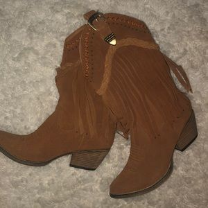 Very Volatile Fringe Suede Cowgirl Boots